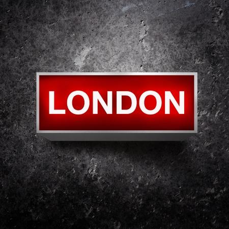 light display: London Vintage electric red light display over a dark, grunge background