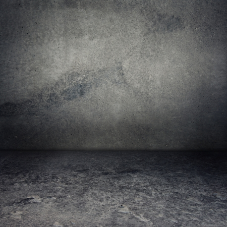 concrete room: Obsolete gray grunge concrete room, urban texture background Stock Photo