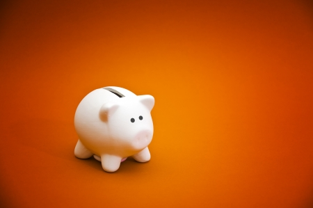 Beatiful white ceramic piggy coin bank, money savings concept photo