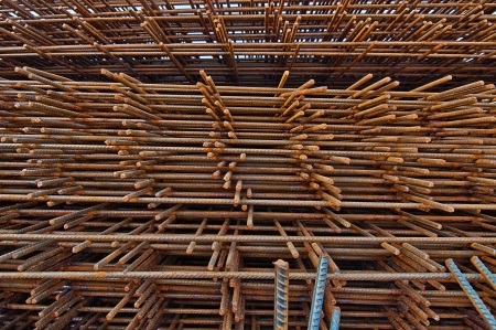 reinforcing: reinforcing mesh, steel bars stacked for construction