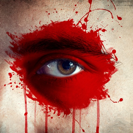 japanesse: flag painted on face of a national team supporter, close up of a male eye. Stock Photo