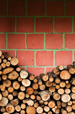 Fire wood against a red brick wall, wooden material stacked for winter and cold weather photo