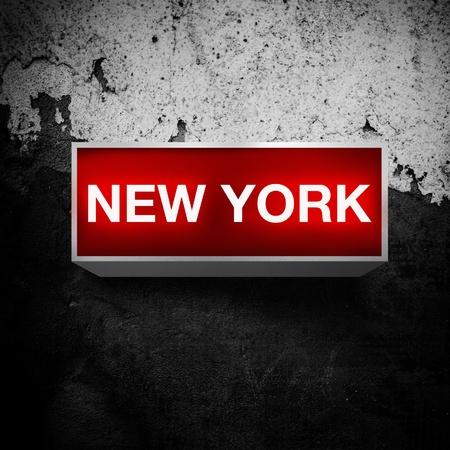 light display: New York, vintage electric red light display over a dark, grunge background.