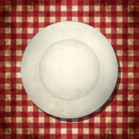 Dirty white plate on red and white checkered tablecloth Stock Photo - 15424499