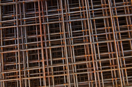 reinforcing mesh, steel bars stacked for construction photo