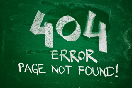 404 error, page not found - message handwritten with chalk on a green school board photo