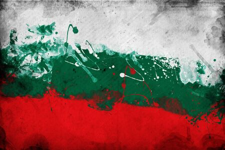 overlaying: Grunge Bulgarian flag, image is overlaying a detailed grungy texture Stock Photo