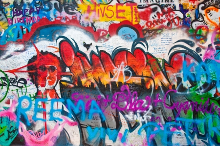 Detail from a famous Lennon wall in Prague Stock Photo - 15694475