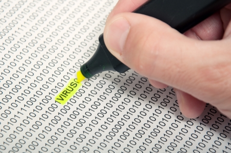error message: Computer virus detection concept.