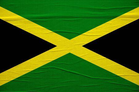 Grunge Jamaican flag, image is overlaying a detailed grungy texture photo