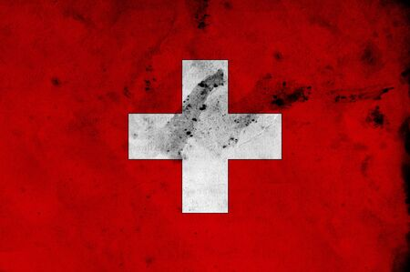 Grunge flag of Swiss, image is overlaying a detailed grungy texture photo