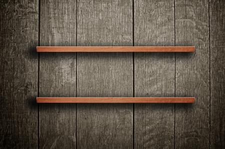 estanterias: Vintage estanter�a de madera sobre un fondo sucio Foto de archivo