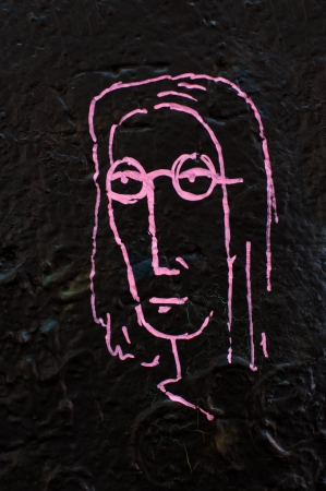 Detail from a famous Lennon wall in Prague