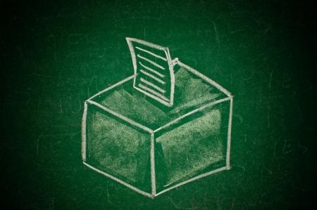 Vote concept; handdrawn ballot box on a green chalkboard photo
