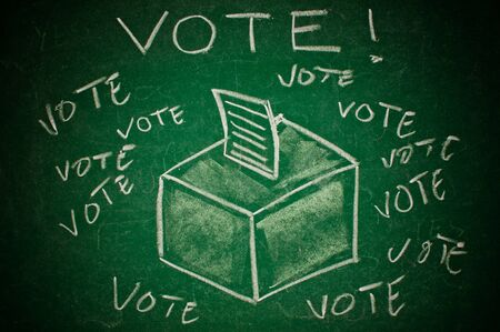 voting ballot: Vote concept; handdrawn ballot box on a green chalkboard Stock Photo