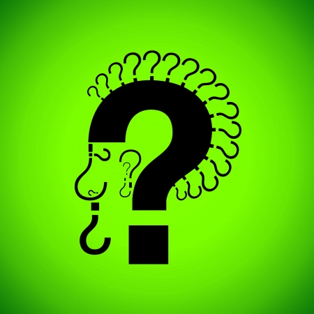 Simple and effective illustration of a punk male head with question marks Stock Illustration - 16221101