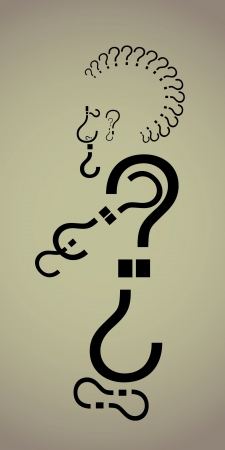 Simple and effective illustration of a punk male with question marks Stock Illustration - 16221098