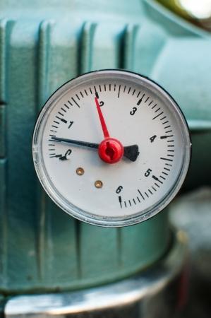 barometer: Pressure gauge, measuring instrument close up image