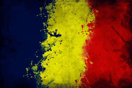 overlaying: Flag of Chad, image is overlaying a grungy texture. Stock Photo