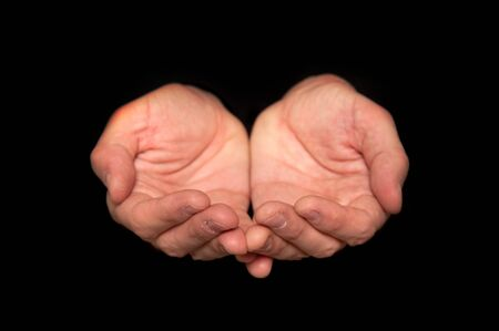 Male empty hands on a dark background Stock Photo - 16383285