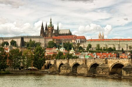 View of famous Prague castle from the Charles Bridge photo