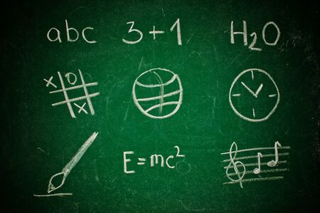 Various icons related to school subjects on a green chalkboard photo