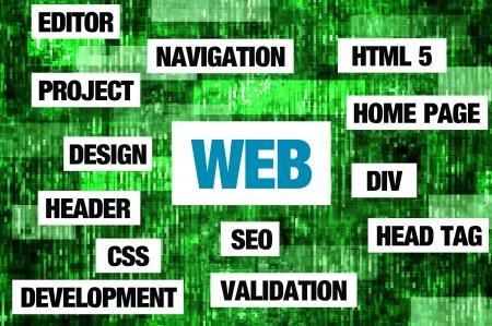 Internet concept - internet keywords arranged arround the word - WEB