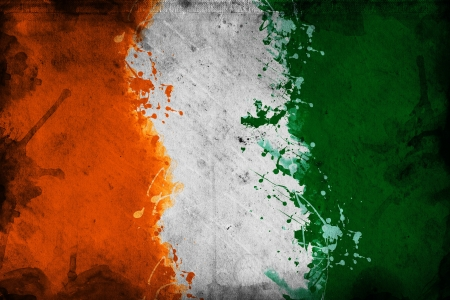 overlaying: Flag of Ivory Coast, image is overlaying a grungy texture. Stock Photo