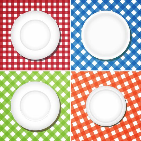 White plates on checkered tablecloth, collage image Stock Photo - 16557475