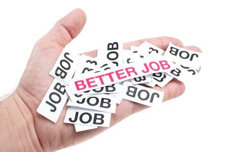 Male hand holding paper notes notes with printed words 'Better Job' photo