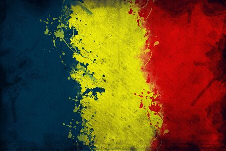 overlaying: Flag of Moldova, image is overlaying a grungy texture. Stock Photo