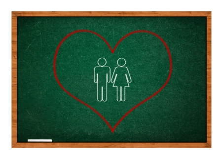 rasa: Heart  on green chalkboard with wooden frame  Stock Photo