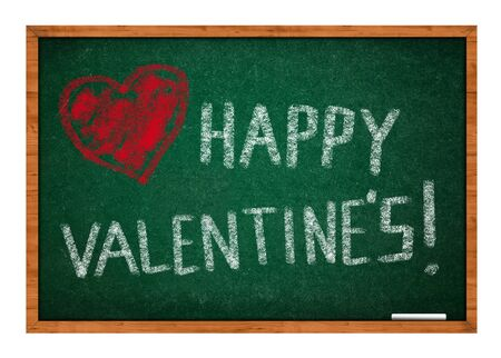 Happy valentines day with heart drawing on green chalkboard with wooden frame  photo