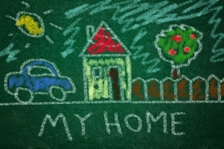 rasa: Chil drawing og home on a green chlkboard Stock Photo