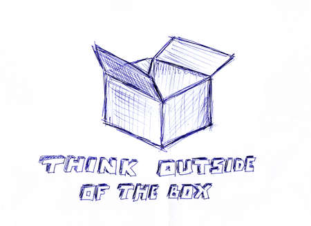 Think outside of the box, handwritten message on a white paper Stock Photo - 17123962