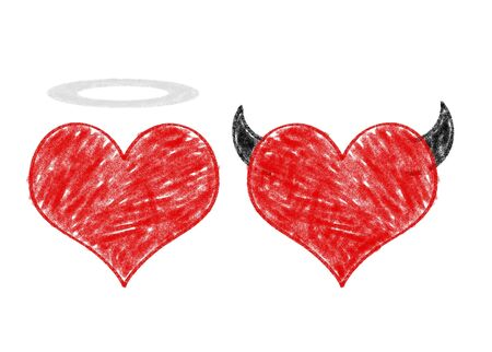 Angel and devil in love, heart drawings on white paper photo