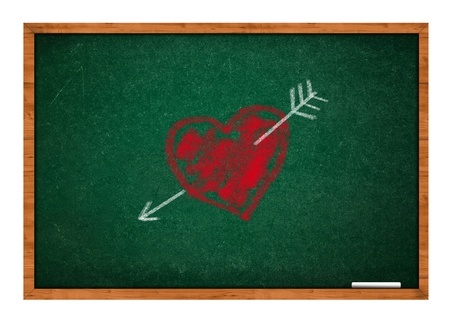 rasa: Heart and arrow on green chalkboard with wooden frame.