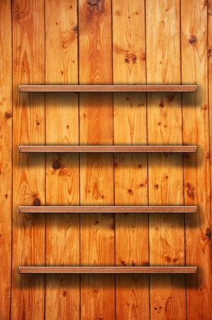 Vintage wood bookshelf on a wooden wall photo