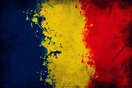 overlaying: Flag of Romania, image is overlaying a grungy texture