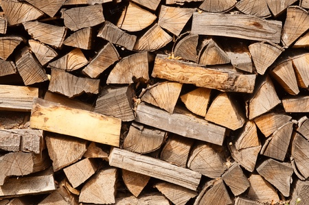 A staple of biomass, arranged firewood. photo