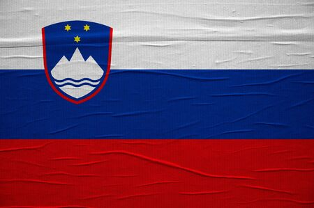 overlaying: Grunge Slovenian flag, image is overlaying a detailed grungy texture Stock Photo