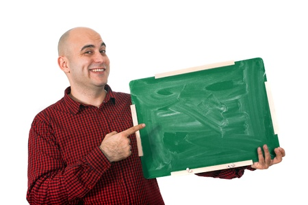 young adult man: Happy bald young adult man holding a small green chalkboard. Stock Photo