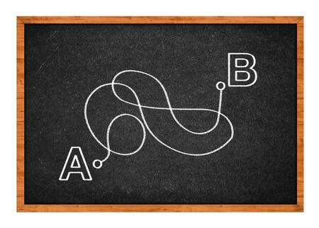 there: From point A to point B, not the shiortest way. Conceptual drawing on a black chalkboard.  Stock Photo