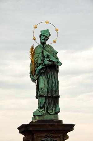 john: St. John of Nepomuk (Ian Nepomuk) on Charles bridge, Prague, Czech republic Stock Photo