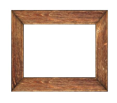 marco madera: Antiguo marco de madera obsoleto imagen sobre un fondo blanco