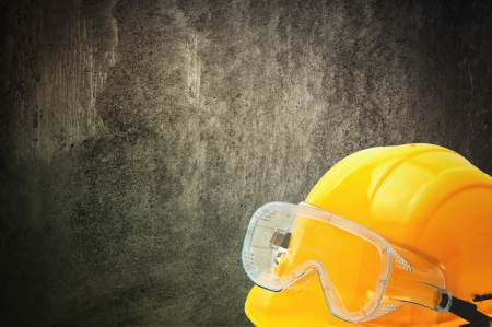 Protective equipment in obsolete gray grunge concrete room Stock Photo - 17780974