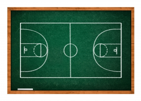 tactics: Basketball court on green chalkboard with wooden frame. Stock Photo