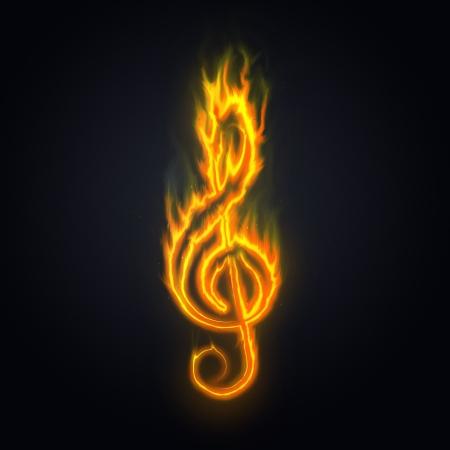 treble: Treble clef, music or violin key on fire over a dark background. Stock Photo