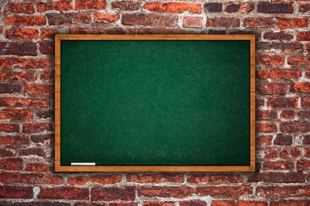 rasa: Tabula rasa, empty chalkboard hanging on old obsolete wall, lot of copy space for your writing. Stock Photo