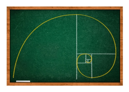 rasa: Golden ratio green chalkboard with wooden frame. Stock Photo